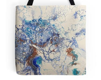 Original Fluid Acrylic Art L, M or S Tote Bag, Printed on Both Sides!