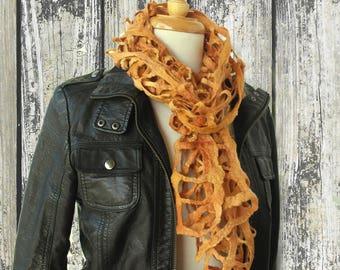 Tan Wool Scarf - Winter Scarf - Wool Felt Scarf - Chunky Brown Scarf
