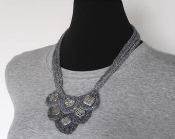 FREE US SHIPPING - Light Gray Color Fiber Crochet Statement Bib Style Necklace with Metal Charms Pendants