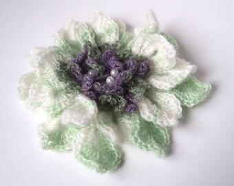 FREE US SHIPPING - Off White Light Green Lilac Lavender Color Acrylic Wool Yarn Fashion Crochet Flower Brooch Hat Hair Scarf Shawl Pin