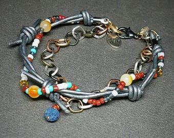 Bohemian Bracelet |  Barbed Wire Jewelry | Leather Bracelet | Lava Bead Charm | Triple strand Bracelet | Bohemian Style | Gypsy Wear
