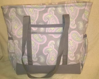 Gray, pink, and mint green Paisley Patterned Diaper Bag, Toddler Bag, Overnight Bag