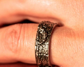 Tree Bark Ring Oxidinzed Silver Sterling 9 MM wide