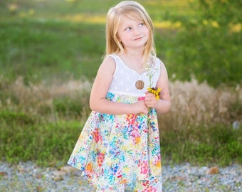 Phoenix Top and Dress PDF Sewing Pattern, including sizes 12 months-12 years, Girls Top Pattern, Girls Dress Pattern