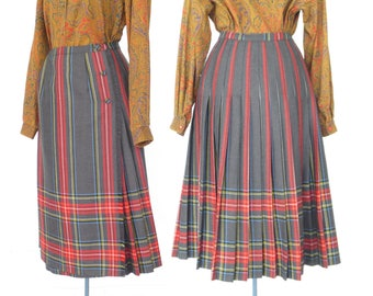 vintage wool skirt * pleated wool skirt * 70s kilt * wrap skirt * medium
