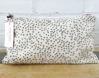 Gray Polka Dot clutch zipper bag, Ready To Ship Now