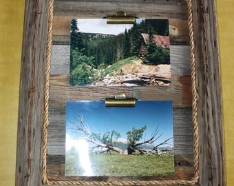 Rustic Picture Frame-Clip Board Photo Display-Collage-Barnwood Note Holder-Wood Frame-Barbed Wire-Rope-Holds 2 Pictures