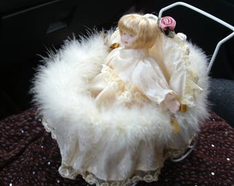 Lace Doll in Beautiful Carriage, Shabby Chic, Home Decor