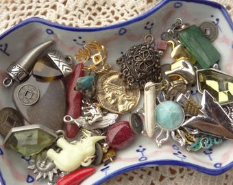 Tiny Jewelry Findings - Vintage Jewelry - Tiny Craft Lot - Elephant Charm - Camel Charm - Sun - Coin Drop - D104
