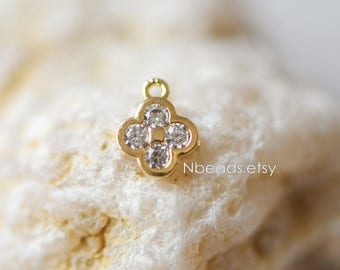 10pcs Micro Pave Rhinestone Flower Charms, Gold plated Brass Mini Floral Charms 8mm, Lead Nickel Free (GB-121)