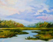 36 x 48 Giclee of Modern Impressionist Original Oil Marsh Painting by Rebecca Croft