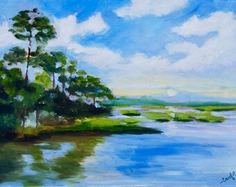 12 x 16 Modern Impressionist Original Low Country Marsh Sunset Oil Landscape Painting by Rebecca Croft