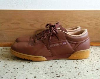 Vintage Men's Tennis Shoes Sneakers / Oxblood Brown / Reebok / Size 13