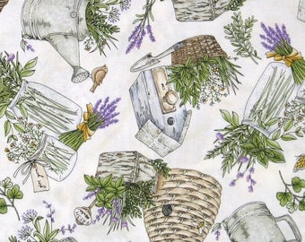 ON SALE Herbs, Watering Can, Bee Hives, and Bird Houses on White 100% Cotton Quilt Fabric for Sale, Thyme with Friends, Fat Quarter, MAS8333
