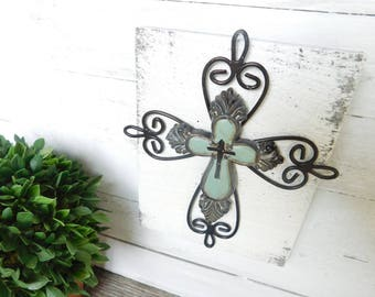 Rustic Sign with Cross-Ready to hang in your Home Size is 5 1/2 wide X 4 1/2 length 1 in thick