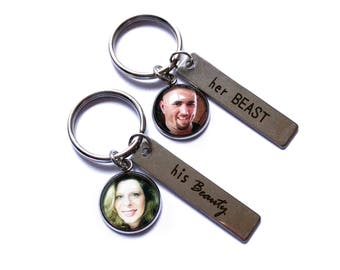 His Hers Gift Set / Wedding Gift / His Beauty Her Beast / Photo Keyrings / Photo Keychains / Couples Gift / His and Hers Gift / Personalized