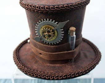 Steampunk Mini Hat Fascinator- Dark Brown Leather with Small Vial and Clockpiece