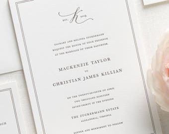 Mackenzie Letterpress Wedding Invitations - Deposit