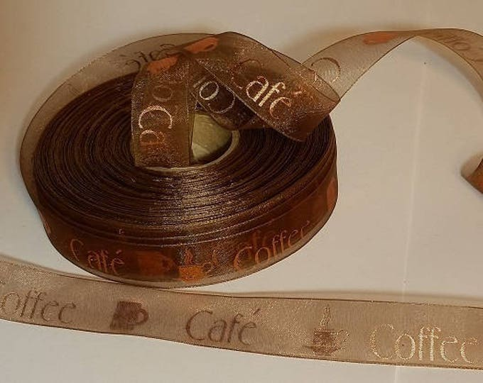 "Brown COFFEE Ribbon (45 feet) 15 yds of ribbon, Sheer ""Coffee Cafe"" ribbon, 1 inch (24mm) wide printed with COPPER metallic"