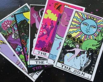 Tarot Art Print Postcards, set of 7, Rider Waite remake
