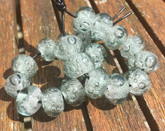 Light Grey Bubbles Lampwork Glass Beads, SRA, UK Lampwork, UK Seller