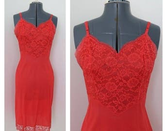 Vintage 1960s Orange Red Slip with Lace Bodice - Bust 34 by Vanity Fair
