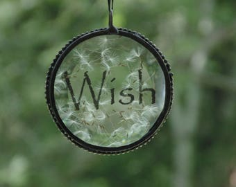 Wish suncatcher, make a wish, dandelion flower, stained glass suncatcher ornament, pressed flower art, home decor, minimalist art gift