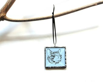 Cat ornament, stained glass, blue cat, cat lover gift, crazy cat lady, Christmas ornament, tree trimming, tiffany copper foil ornament