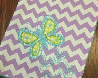 Butterfly Baby Blanket- Personalized Baby Blanket- Chevron Minky Blanket- Applique Baby Blanket- Nursery Blanket