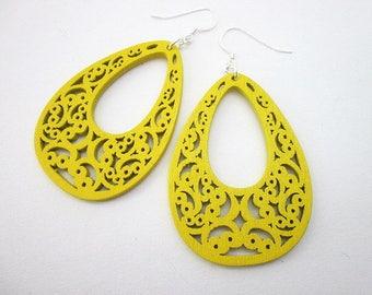 Yellow Teardrop Earrings -- Yellow Filigree Earrings -- Fun Yellow Earrings -- Bright Yellow Dangles -- Big Yellow Earrings -- Flat Yellow