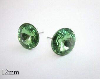 Green Post Earrings -- Swarovski Posts -- Green Crystal Studs -- Green Swarovski Studs -- Light Green Studs -- 12mm Green Posts -- Peridot