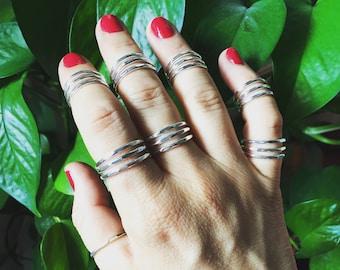 Silver Three Layer Ring - Handmade Sterling Hammered Modern Minimal Organic Statement Hand Jewellery Pinky Thumb Midi Women Men