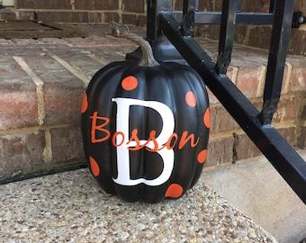 Pumpkin Decal Vinyl Letter Decal ~Halloween Decal ~ Fall Decor ~Autumn Decor~Monogrammed Pumpkin~Personalized Pumpkin Stickers Initial Decal