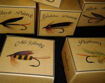 Trout fly boxes fishing cabin decor
