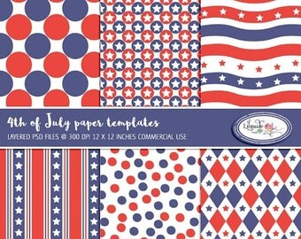 65%OFF SALE July 4 paper templates to make your own digital papers, PSD template, layered template, overlays, Photoshop templates, P416