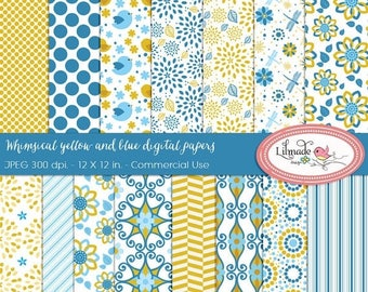 65%OFF SALE Whimsical digital paper, floral digital paper, chevron digital paper, patterned scrapbook paper, DP40