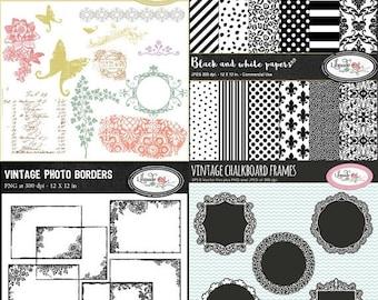 50%OFF Digital paper, vector clip art chalkboard frames, vintage floral frames and vintage Photoshop brushes bundle, B51