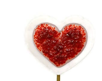 Heart Plant Stake, Garden Stake, Fused Glass, Valentine's Day, Red Sugar, Anniversary Gift, Home Decor, I Love You Gift