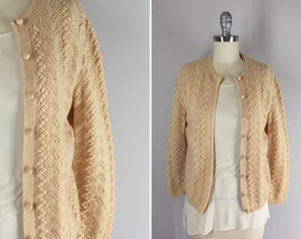 Vintage 1960s Popcorn Handknit Cardigan /  60s Buttercream Vintage Sweater / Knot Today Cardi