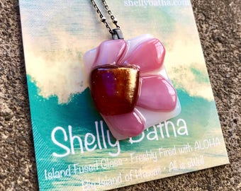 Pink/White Flower Oxidized Sterling Silver Necklace Shelly Batha Island Fused Glass Hawaii