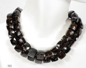 ON SALE Smoky Quartz Beads Faceted 3D Cubes Box Beads Dark Brown Earth Mined Gemstone   4 Inch Strands  8 to 9mm Cubes  About 10 Beads