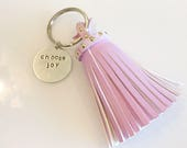 Choose Joy leather tassel key chain hand stamped key chain gifts for her christmas