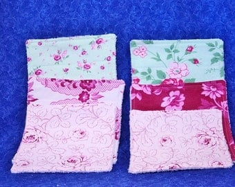 Set of 6 Baby Wash Cloths Baby Girl Pinks and Greens with Terry Cloth Backing