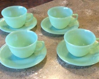 Vintage Fire King Jane Ray Jadeite Green Glass Coffee Cup and Saucer 8 Piece Set