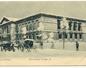Art Institute Winter Snow Chicago Illinois 1907c postcard