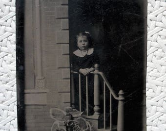 Tintype - Girl at the Hand Rail