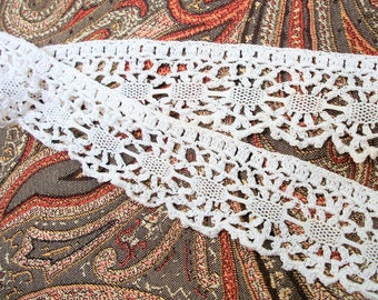 2 Yards Off White Lace - Hand Crocheted Cotton