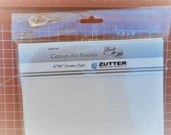 Zutter White Canvas Art Boards Book Covers 6 x 6 Inches One Pair