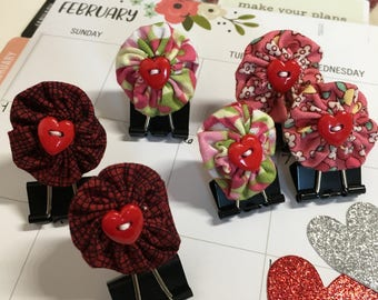 Heart Binder Paper Clip Bookmark-Handmade Valentine Clip-Document Faith-Fabric YoYo-Planner Accessories-Bible Journals-Planner Page Bookmark