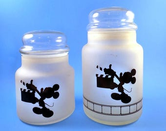 1987 Mickey Mouse Apothecary Jars 2 Frosted Glass MGM Studios Movie Camera Film Food Storage Collectible